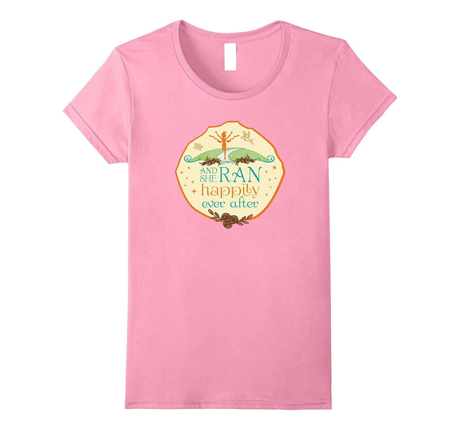 And She Ran Happily Ever After Ladies Running T-Shirt-Art