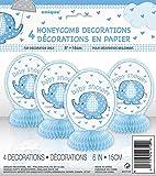 Baby Shower Umbrellaphants Panal Decoracion Azul - Paquete de 4