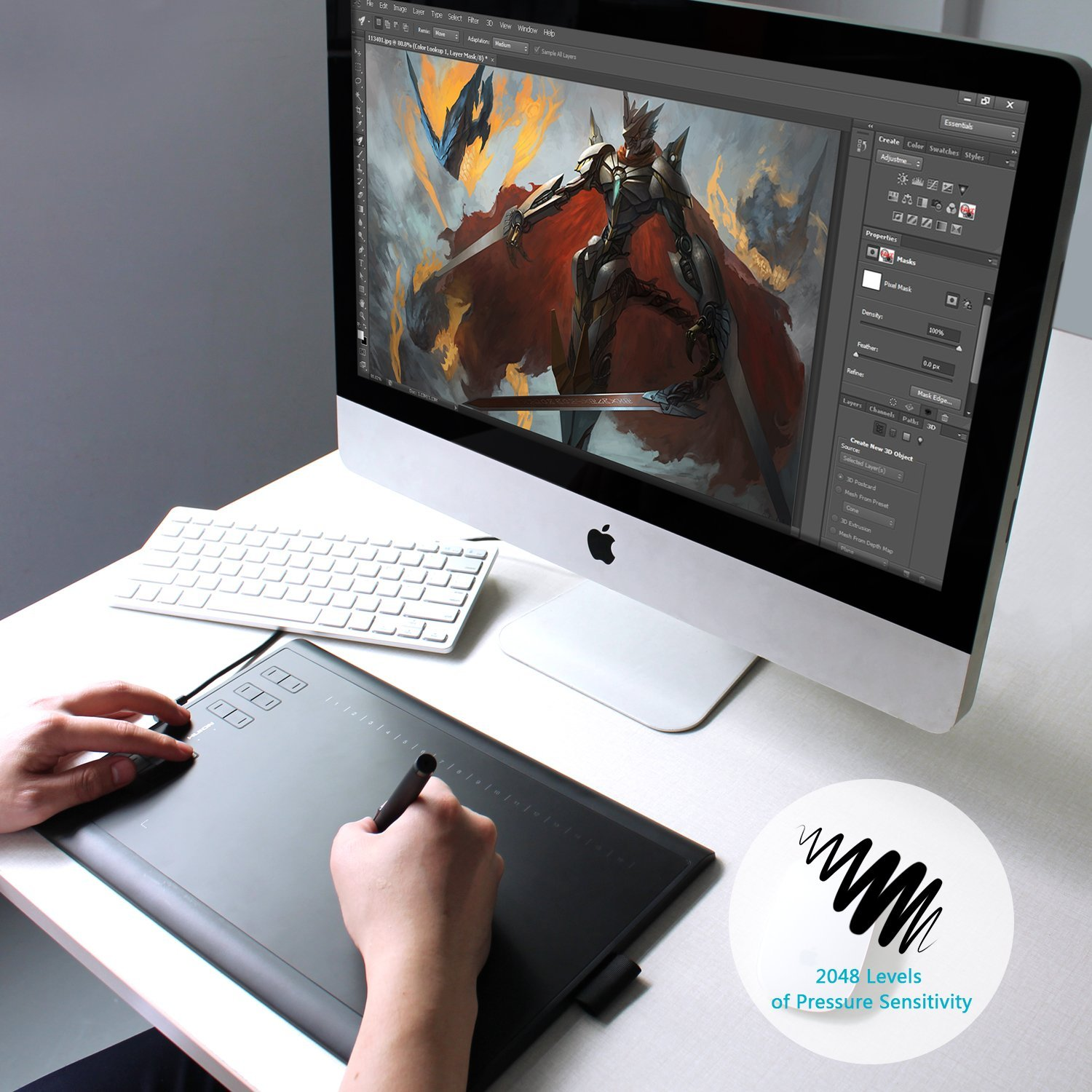 Huion New 1060 Plus Graphic Drawing Tablet with Built-in 8GB MicroSD Card and 12 Express Keys
