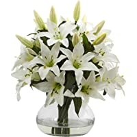 """Nearly Natural 1432 16"""" H Lily Silk Arrangement with Glass Vase,White"""