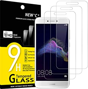NEW'C 3 Unidades, Protector de Pantalla para Huawei P8 Lite 2017, Antiarañazos, Antihuellas, Sin Burbujas, Dureza 9H, 0.33 mm Ultra Transparente, Vidrio Templado Ultra Resistente
