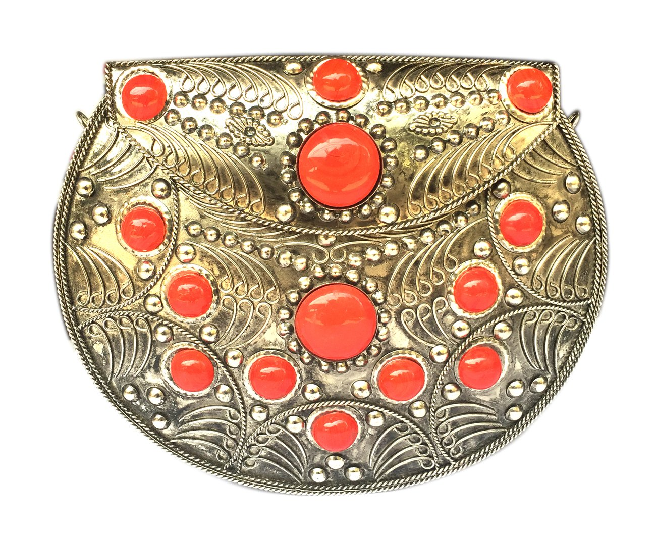 Handmade Antique Metal and Glass Beads Clutch Wallet Handbag with Silver Chain for Women/Girls
