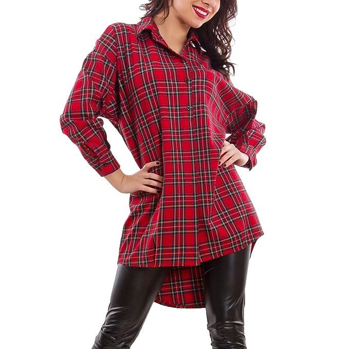 best website d5c21 86c11 Toocool - Camicia donna maxi lunga scozzese tartan quadri ...