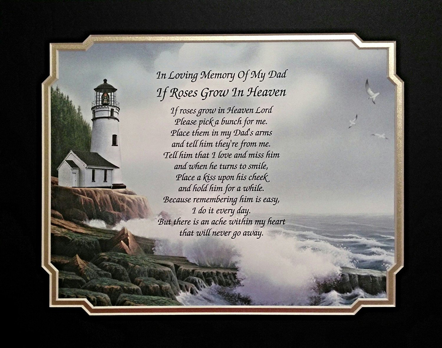 In Memory of Dad ''If Roses Grow In Heaven'' Memorial Poem For Loss of Father Gift Idea With Lighthouse Background