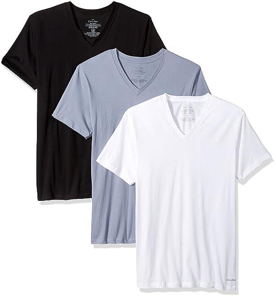 Calvin Klein Hombres de Tirantes de algodón Classics – 3 Pack Cuello en V Accenter -