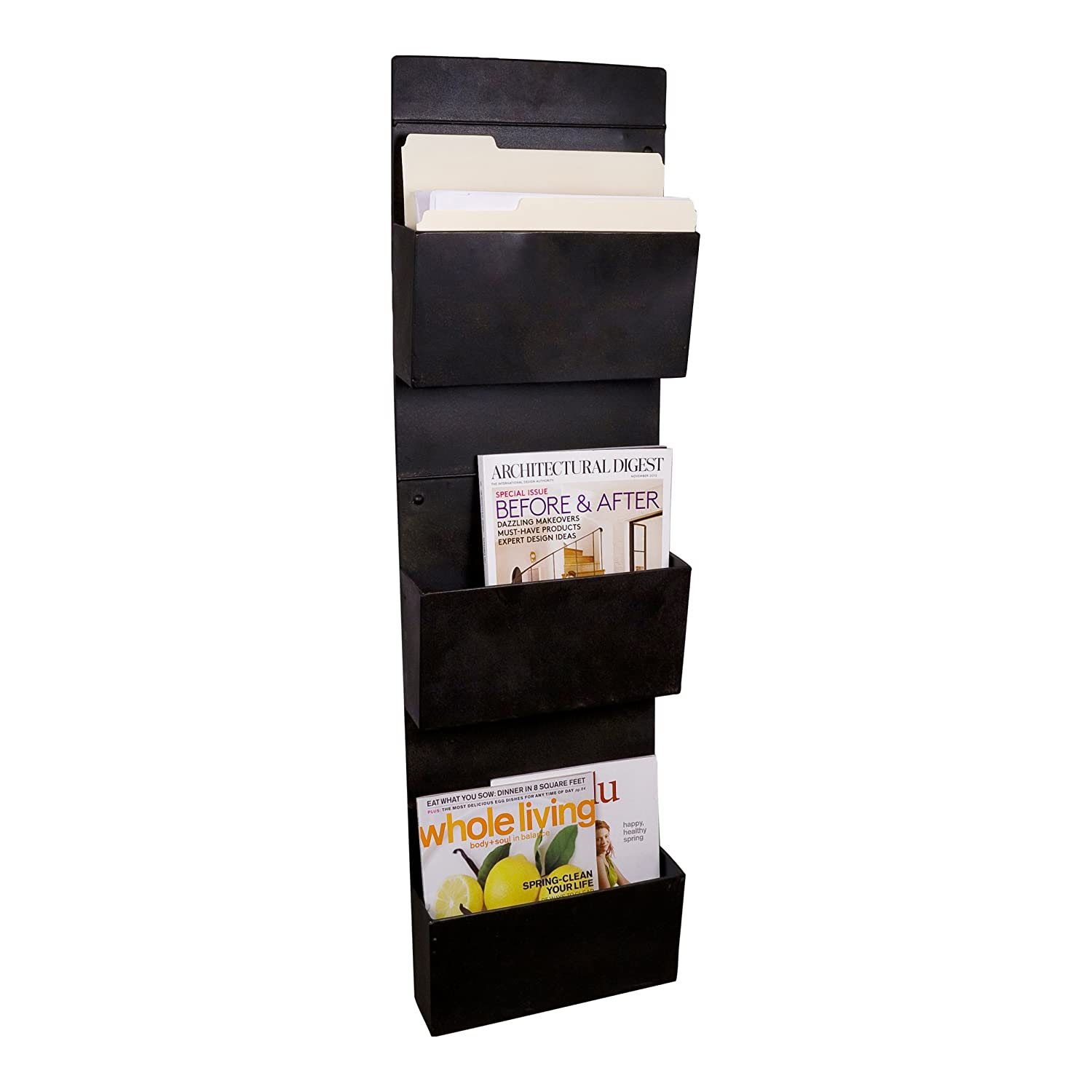 slot filing mounted magazine mygift hanging document pin black mount rack wall system