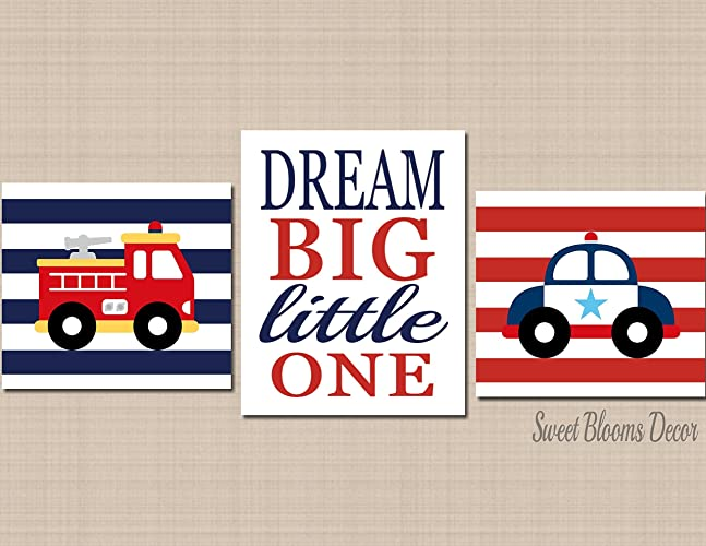 Amazon.com: Emergency Rescue Vehicles Wall Art,Fire Truck Police Car ...