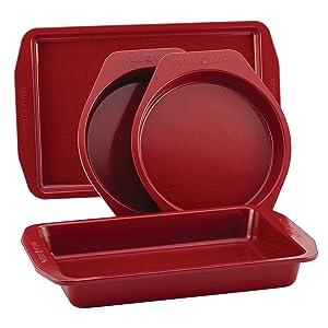 Paula Deen Nonstick Bakeware Set, 4-Piece, Red Speckle