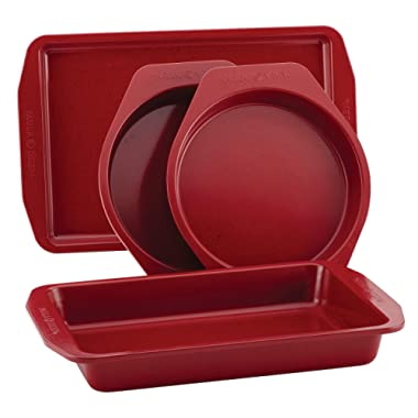Paula Deen 46652 4-Piece Steel Bakeware Set, Red Speckle