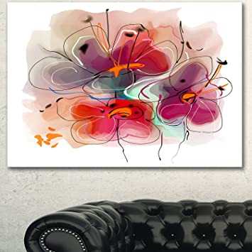 amazon com red blue flower illustration extra large floral wall art