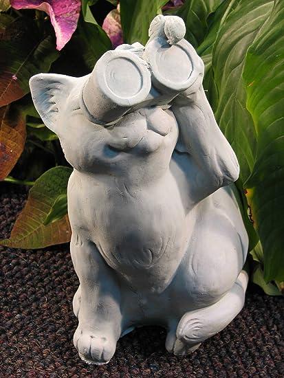 CAT W/Binocular BIRDWATCHING STATUE Gray Cement 13u0026quot; Sitting Kitten  Sculpture GRAY Cast CEMENT