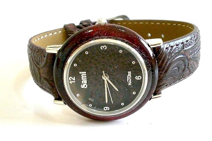 Sami RSM-55592-3 Nature Reloj de Pulsera de Mujer Corona Madera Correa Piel Marron: Amazon.es: Relojes