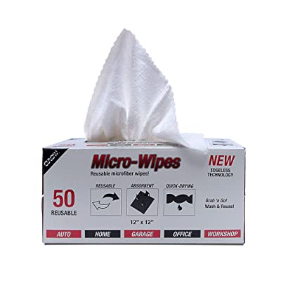"""Eurow Microfiber Wipe and Clean Cloths 12"""" x 12"""" with Dispenser Box 50 Pack: Automotive"""