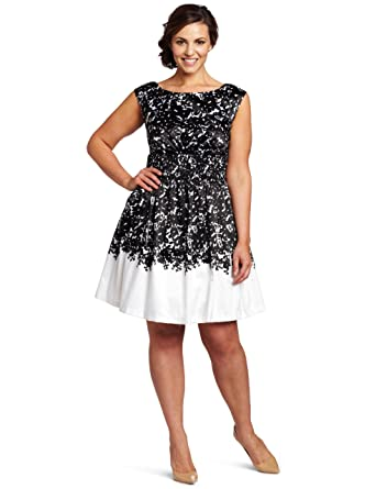 Jessica Simpson Womens Plus Size Boat Neck Dress Fannie Black 12w