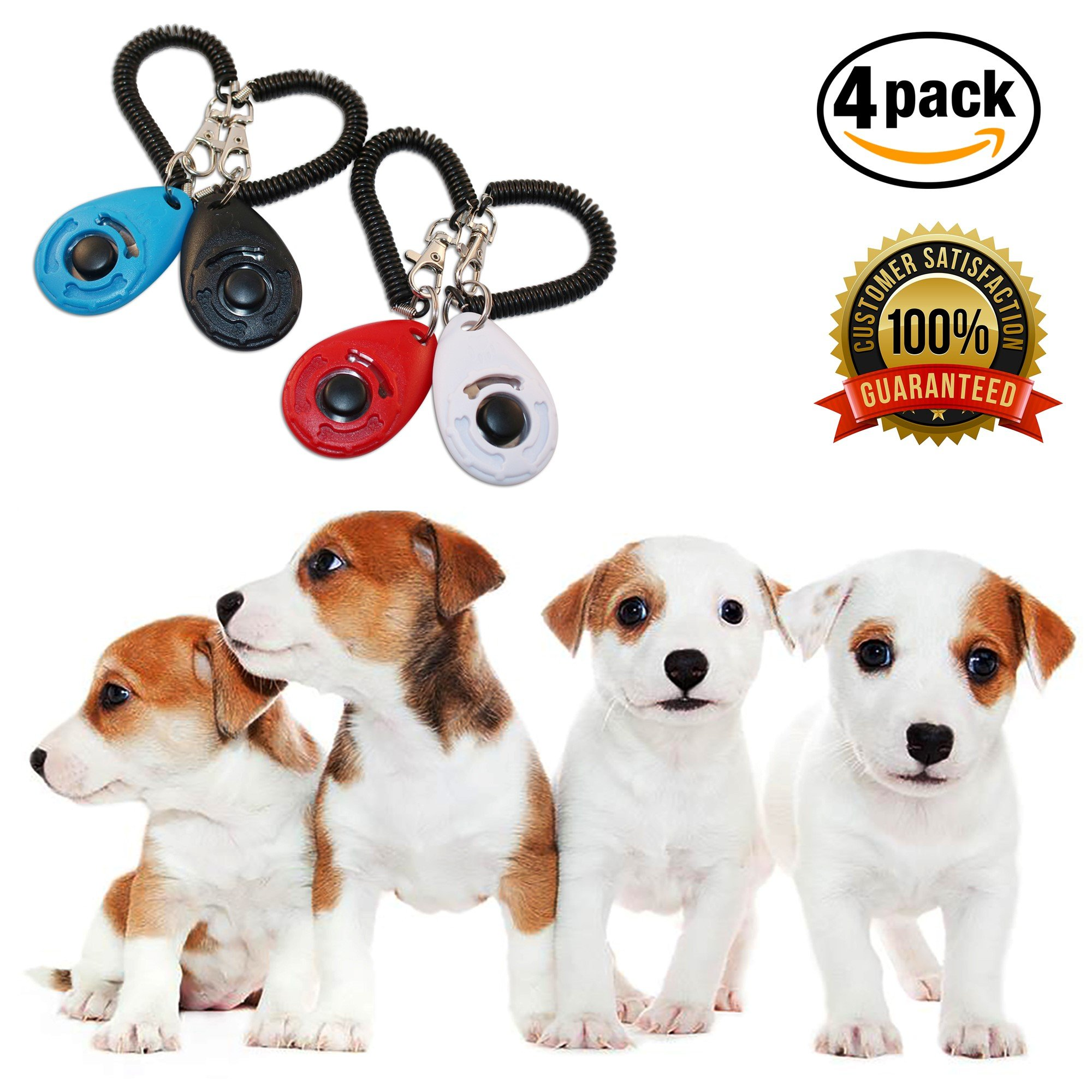 Clicker Training For Dogs - Best Obedience Clicker For Adult Dog And Puppy Training - 2017 NEW UPGRADED version 4 Pack - Teach Tricks And Correct Bad Behavior The Humane Way - Reinforced Wrist Strap