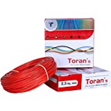 DMT™ Toran PVC nsulated Wire 2.5 SQ/MM Single Core Flexible Copper Wires and Cables for Domestic/Industrial Electric | Home Electric Wire | 90 Mtr Coil | | Electrical Wire | (Red)