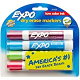 EXPO Low-Odor Dry Erase Markers, Chisel Tip, Fashion Colors, 4-Count