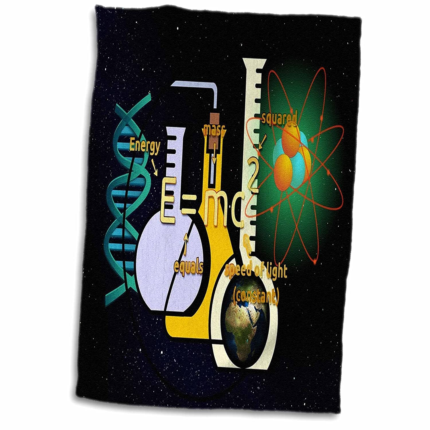 3D Rose Print of Science Setup with Flask and Equations TWL_204103_1 Towel 15' x 22'