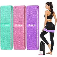 ihuan Weerstandsbanden voor benen en billen, 3 niveaus oefenband, anti-slip & rol elastische workout booty banden voor…