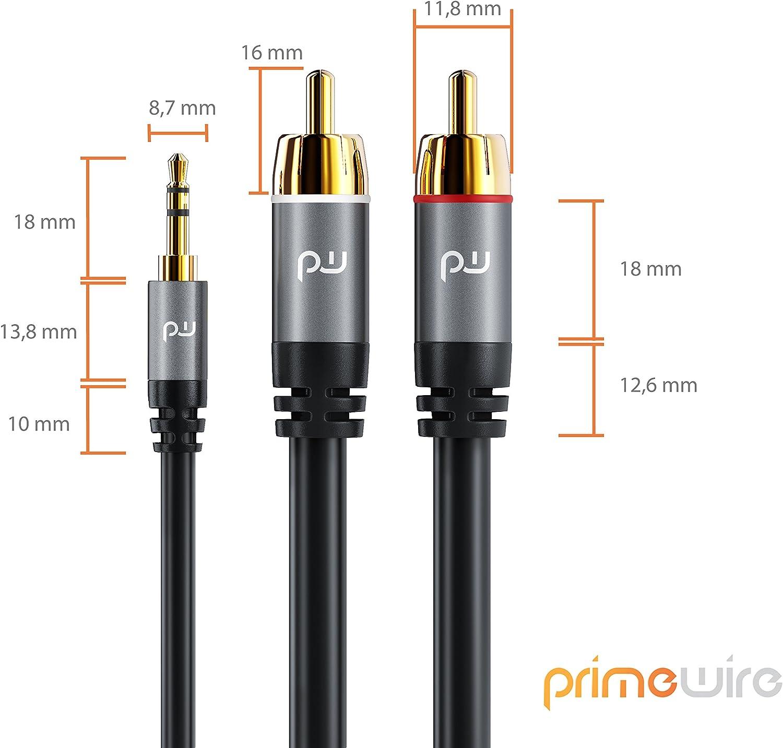 Audio PC Primewire Strumenti Musicali 1,5 m Cavo Jack RCA a Y Cavo per Amplificatori Hi-Fi Cavo Adattatore Jack 3,5mm RCA Stereo 2X RCA Maschio e 1X Jack Maschio Stereo