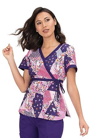 d1e3f0968ac KOI Prints Women's Kathryn Mock Wrap Web Print Scrub Top (Patch It Up, XX