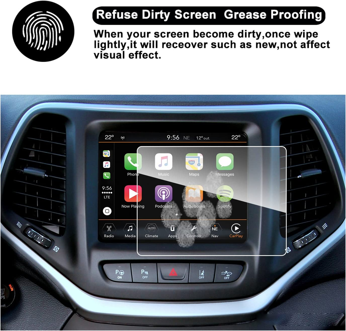 RUIYA HD Clear Tempered Glass Car in-Dash Screen Protective Film 8.4-Inch 2014-2018 Cherokee Uconnect Touch Screen Car Display Navigation Screen Protector