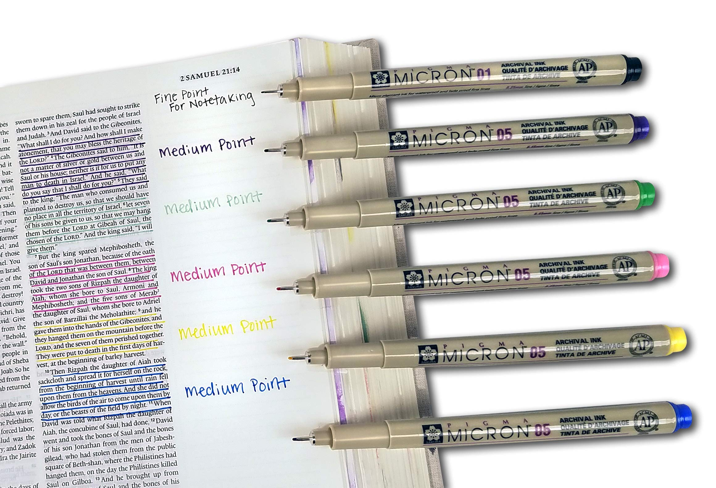 Accu-Gel Bible Highlighter Study Kit (Pack of 6) + Pigma Micron 01 Fine & 05 Medium Point Bible Study Kit (Set of 6) - The Deluxe Multi-Color Study Kit by G.T. Luscombe Company, Inc. (Image #4)