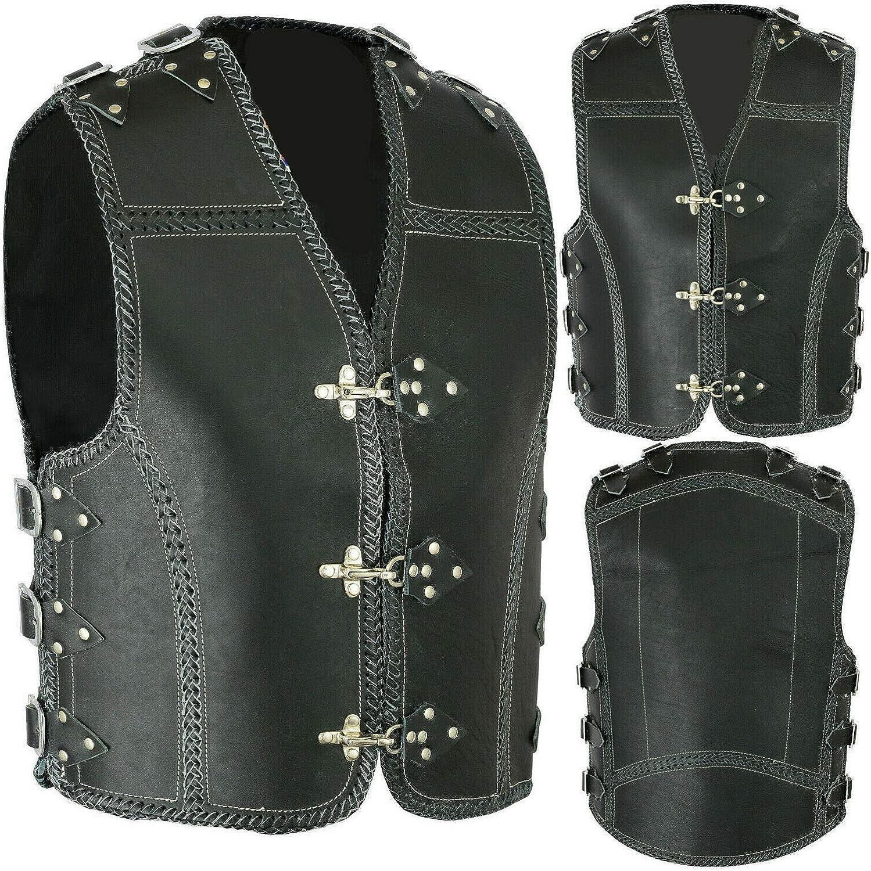 Mens Buckle Buffalo Leather Motorcycle Biker Leather Waistcoat Vest Hand Braided