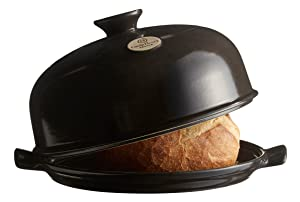 """Emile Henry Made In France Bread Cloche, 13.2 x 11.2"""""""", Charcoal"""