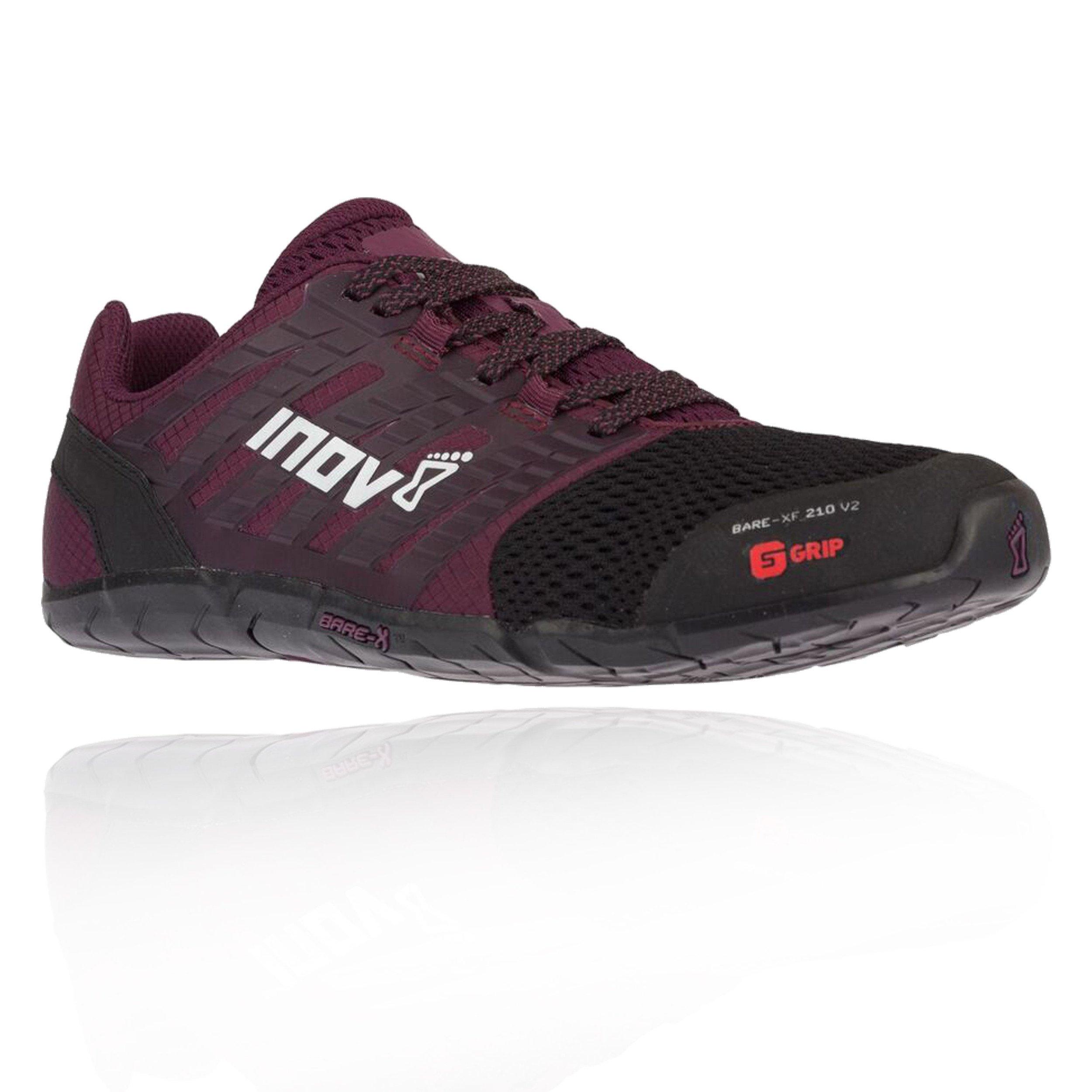 Inov-8 Womens Bare-XF 210 V2 - Barefoot Minimalist Cross Training Shoes - Zero Drop - Wide Toe Box - Versatile Shoe for Powerlifting & Gym - Calisthenics & Martial Arts - Black/Purple 8.5 W US by Inov-8
