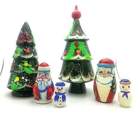 lot of 2 sets nesting stacking wooden dolls christmas tree santa snowman hand painted matryoshka babushka