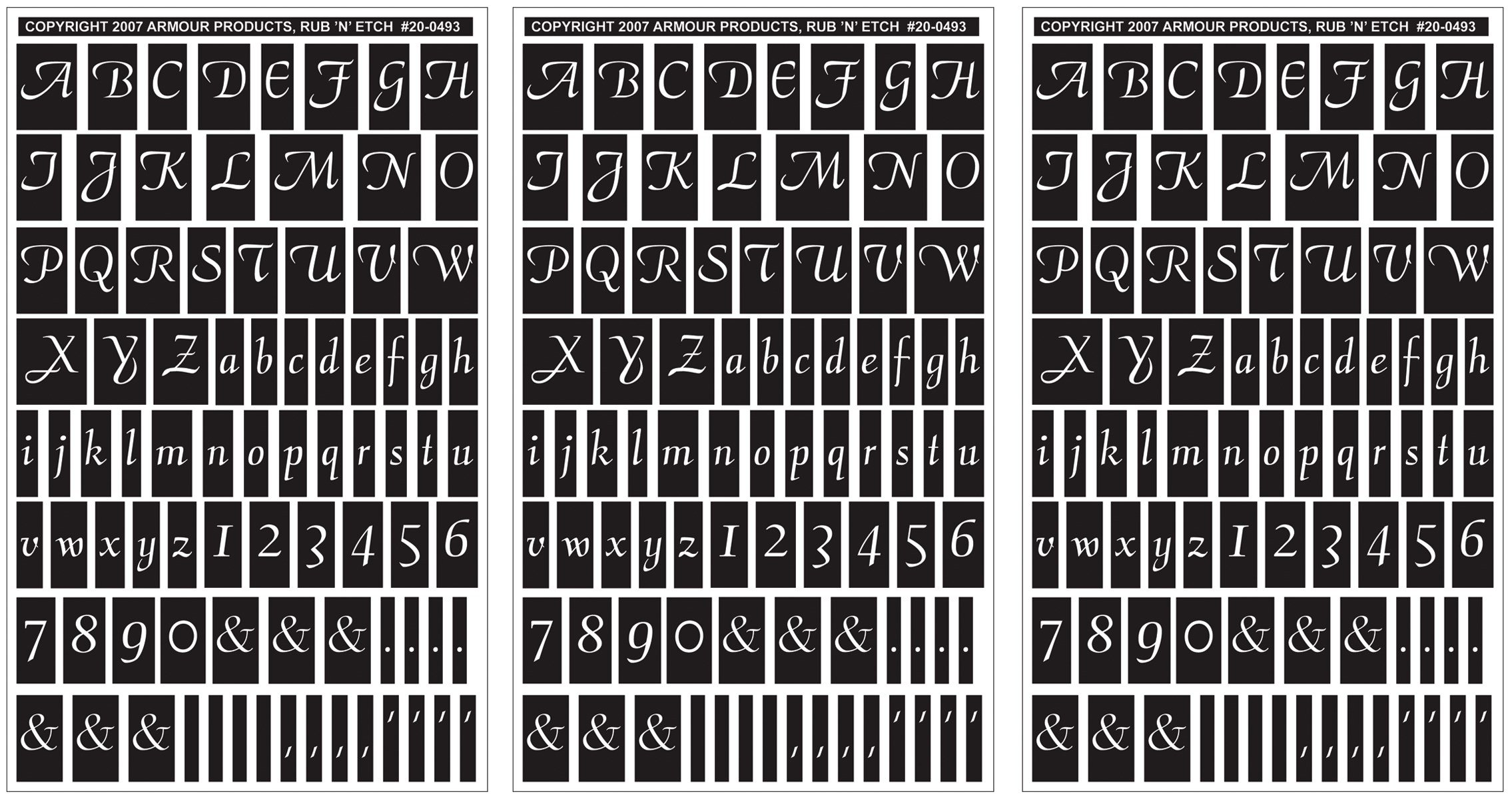 Armour Products Rub 'n' Etch Glass Etching Stencils 5in. x 8in. 3/Pkg Script Letters & Numbers 12-7032 by Armour