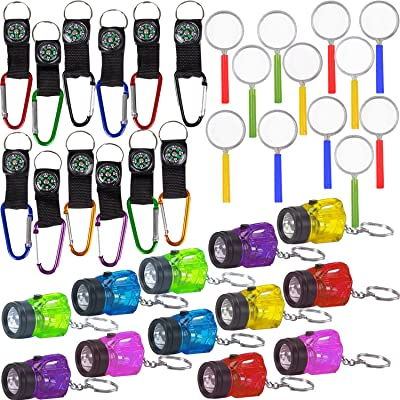 36 Piece Survival Favors Set with 12 Flashlights, 12 Compasses, 12 Magnifying Glass. Perfect for Scouts, Explorer, Camping, Hikes, Outdoor and Adventure Theme Parties: Toys & Games