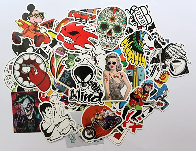 50PC Random Cool Decal Graffiti Sticker Bomb Laptop Waterproof Stickers Skate