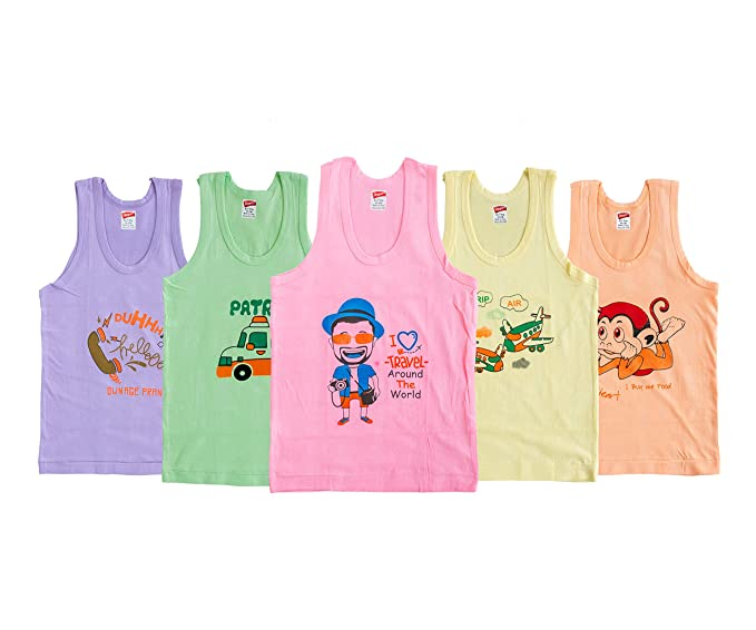 Skipper Boys Printed Vest Pack of 5