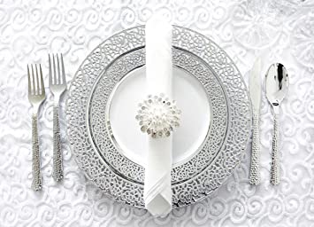 Royalty Settings Silver Inspiration Collection Lace Plastic Plates and Cutlery Party Package for 20 Persons  sc 1 st  Amazon.com & Amazon.com | Royalty Settings Silver Inspiration Collection Lace ...