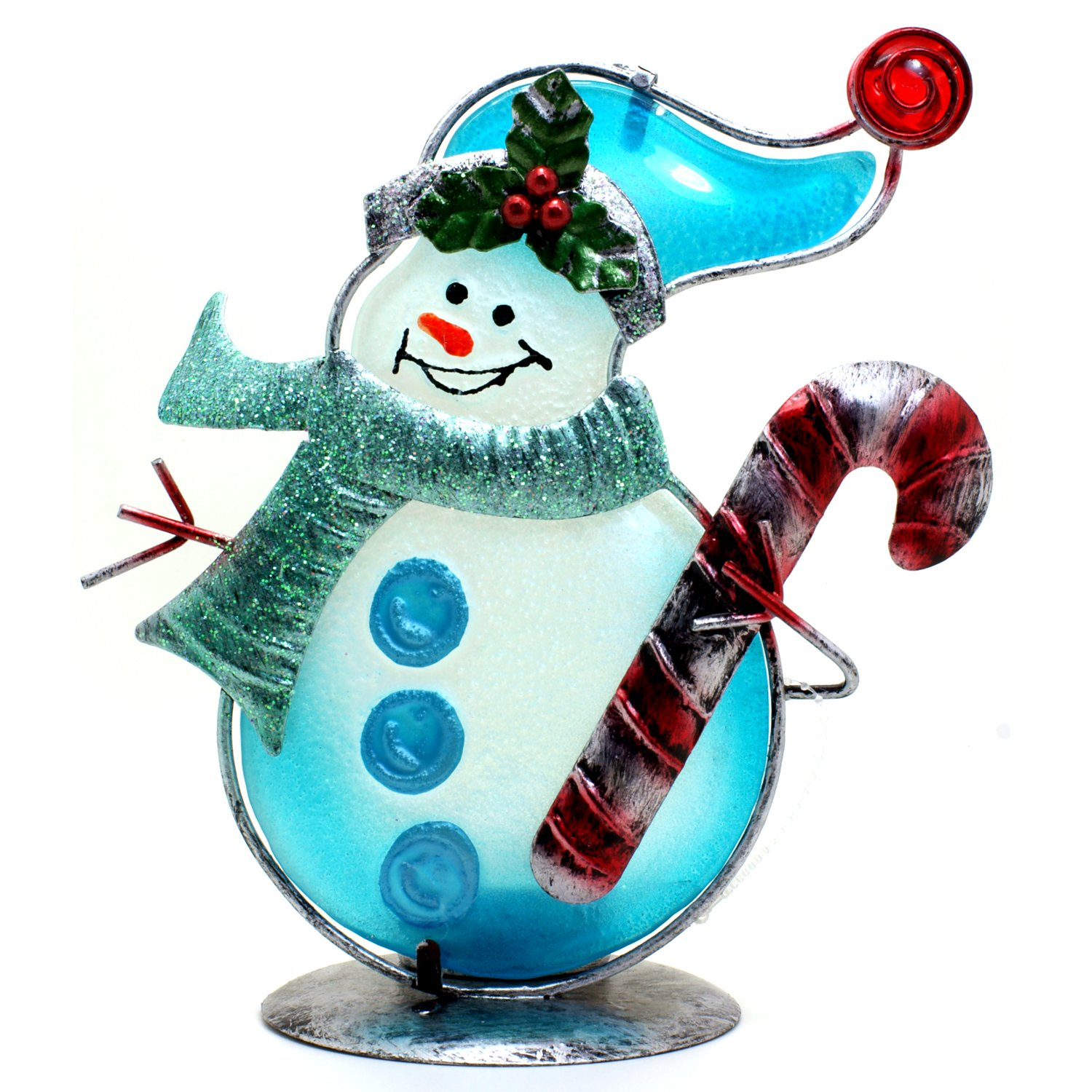 Regal Glass And Metal Christmas Snowman Tealight Candle Holder With Light Effects