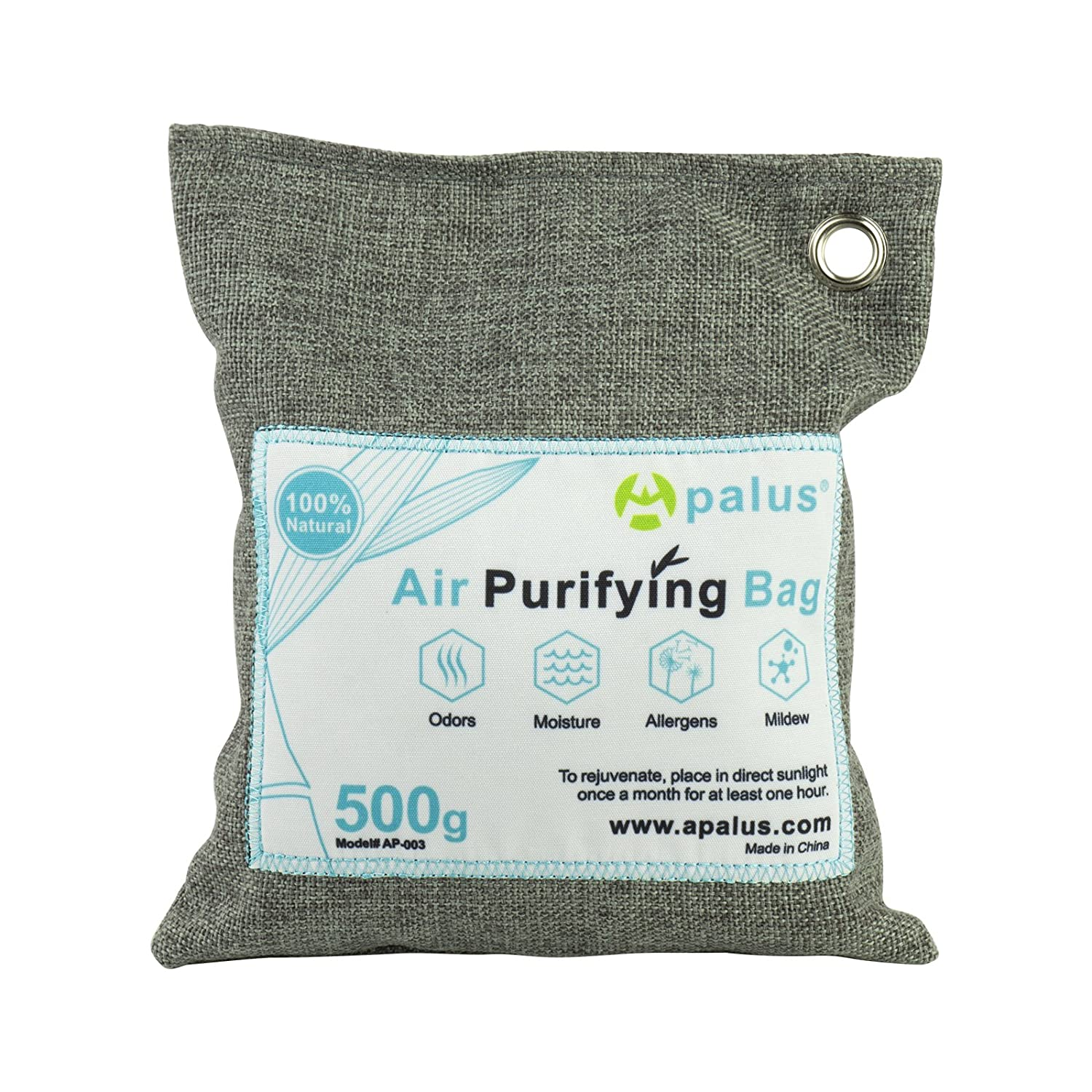 APALUS Natural Air Purifying Bag. Odor Eliminator for Cars, Closets, Bathrooms and Pet Areas. Captures and Eliminates Odors. Charcoal Color, 500G AP-003