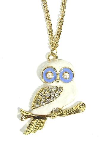 Magic Metal Perched White Owl Necklace Vintage Crystal Animal Charm NG55 Retro Bird Pendant Fashion Jewelry