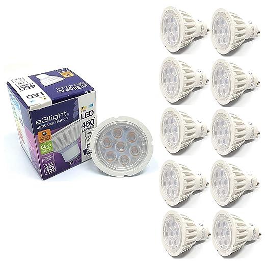 e3light - Bombilla LED de repuesto para lámparas halógenas (10 unidades, GU10, 7