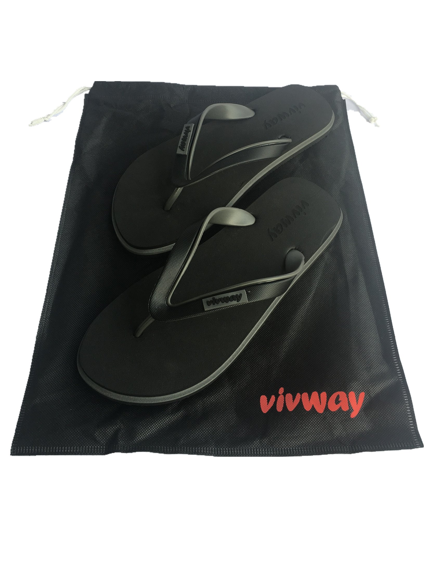 VIVWAY Men's Summer Beach Flip-Flops Thongs Flexible Fashion Sandals Classical Lightweight Non-Slip Black Slippers US8
