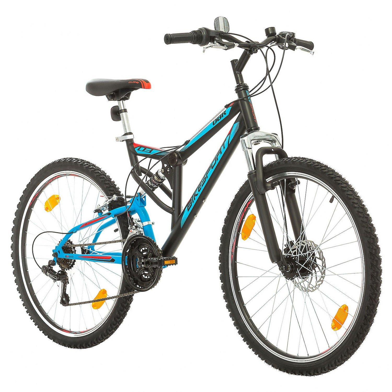 BIKE SPORT LIVE ACTIVE Bikesport Parallax Bicicleta De montañ a Doble suspensió n 26 Ruedas Freno a Disco Delantero Shimano 18 velocidades (Azul Negro) Maxcom
