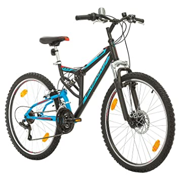 BIKE SPORT LIVE ACTIVE Bikesport Parallax Bicicleta De montaña Doble suspensión 26 Ruedas Freno a Disco Delantero Shimano 18 velocidades (Azul Negro): ...