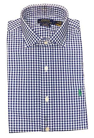 RALPH LAUREN Mens Slim Fit Cotton Twill Button-Down Shirt (Navy/White,