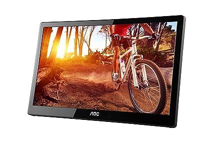 AOC e1659Fwu 15 6-Inch Ultra Slim 1366x768 Res 200 cd/m2 Brightness USB  3 0-Powered Portable LED Monitor w/ Case