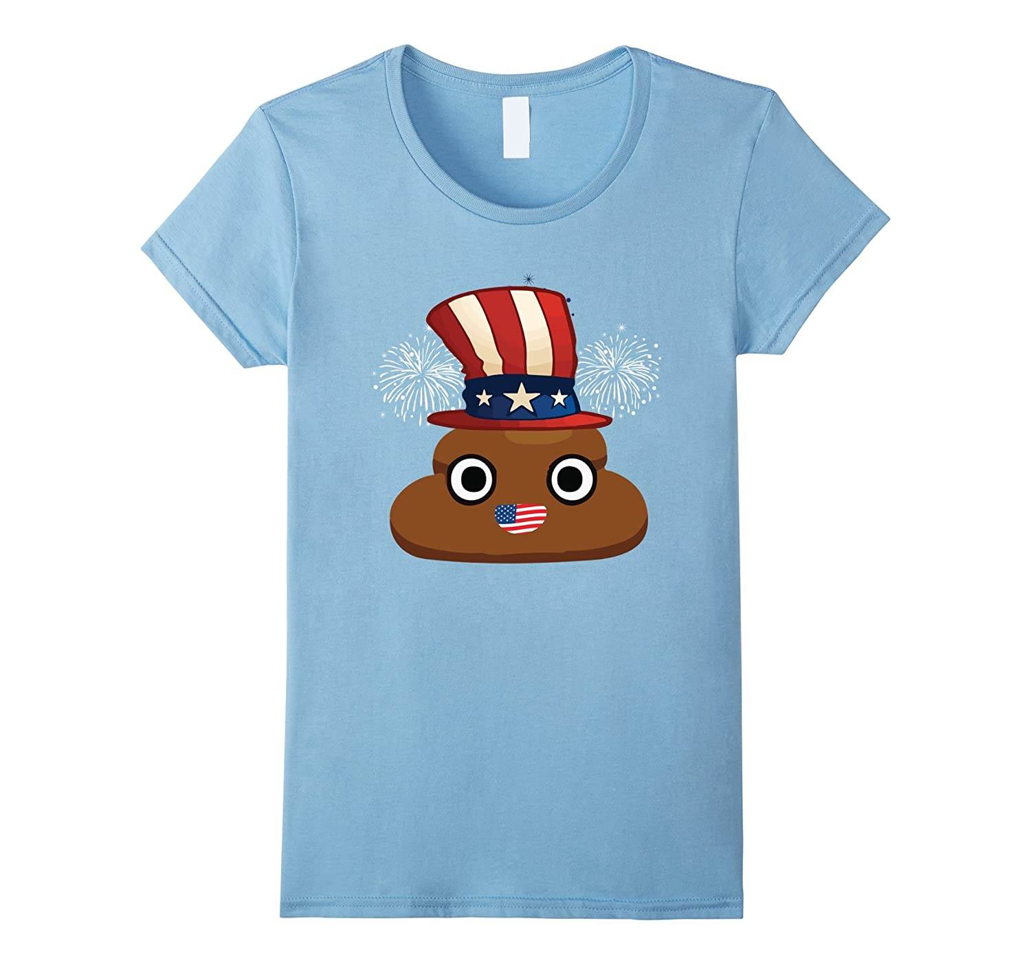 Cute Poop Happy Independence Day T-Shirt With Flag Hat & Lip-Yolotee