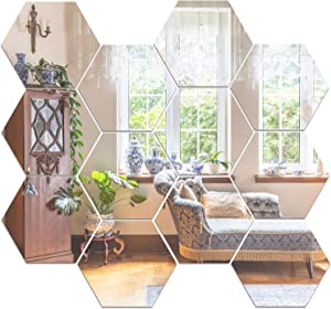 COCIVIVRE Wall Sticker, Hexagon DIY Wall Stickers Wall Decoration 12pcs, Reflective Removable Adhesive Acrylic Wall Sticker Decal for Room Wall Bedroom Tiles Stick on Mirror Aesthetic Decor, Silver