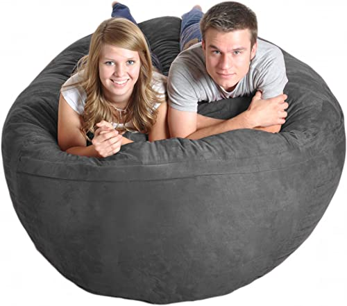 SLACKER sack 6-Feet Extra Large Foam Microsuede Beanbag Lounger, Charcoal