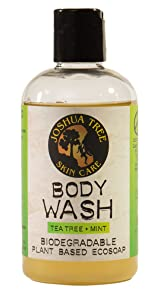 Joshua Tree 8 oz. Body Wash, Shampoo - Biodegradable Plant Based Eco Soap with Organic Ingredients (Tea Tree + Mint)