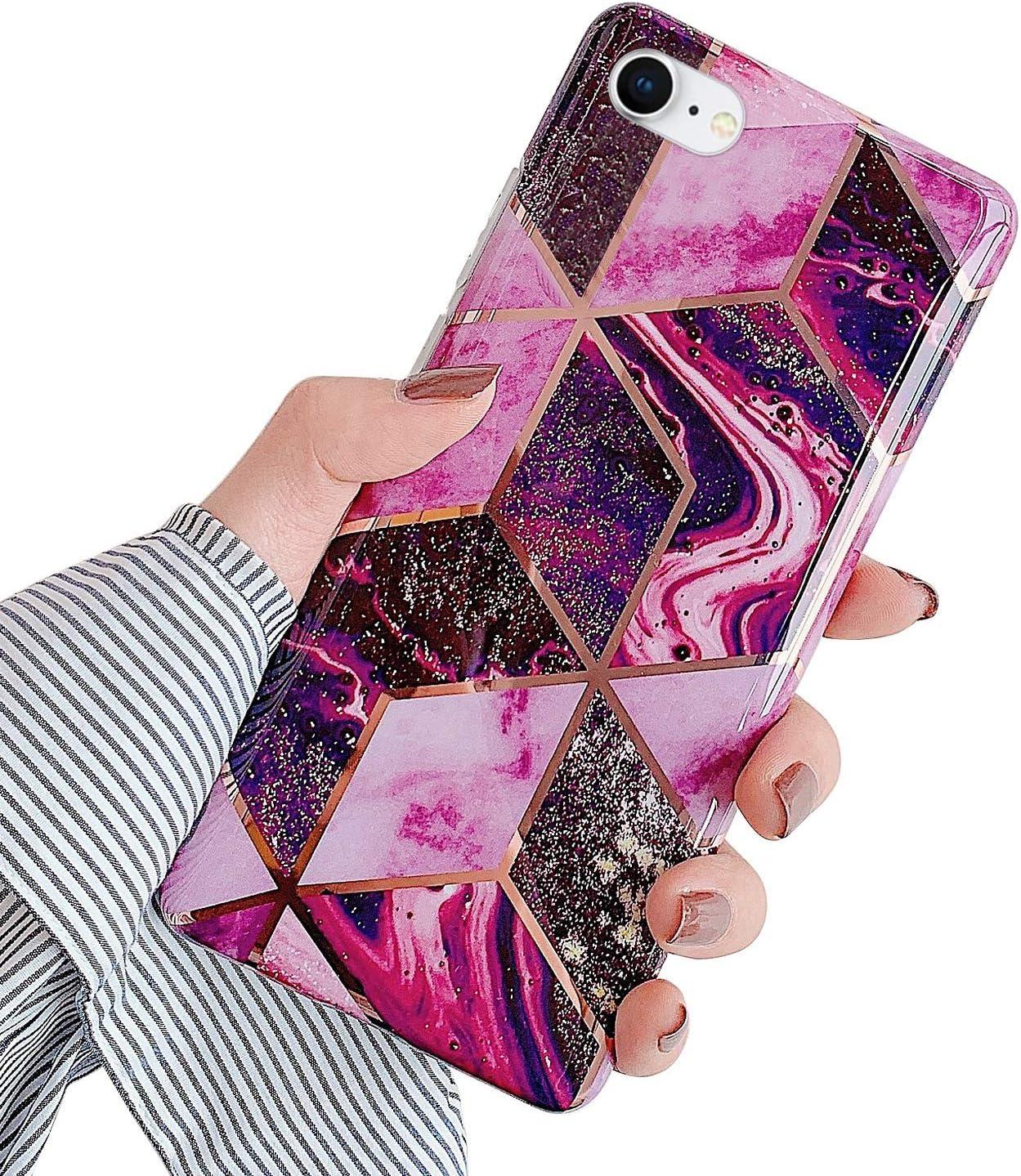 MoreChioce compatible avec Coque iPhone 8,Coque iPhone 7 Marbre Souple Gel Silicone /Étui avec Ananas Transparent avec Strass Glitter Sparkle Dur Protection Case Rigid Cover Skin,Bague Marbre Rose